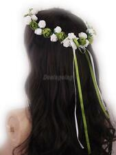 White Rose Flowers Branch Wedding Head Wreath Crown Headpiece Headband