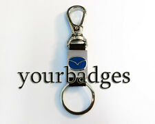 New Chrome Metal and leather Mazda key chain keyring with belt hook