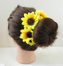 Large Yellow Sunflower Flower Bun Garland Headband Holder Surround Vintage U88