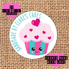 Personalised 24 handmade by cupcake kawaii cake maker love heart eyes