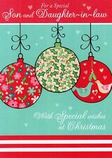 Son And Daughter-In-Law Glitter Christmas Cards Special Xmas Greeting Card