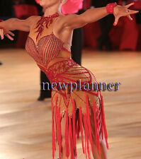 Women Ballroom Rhythm Salsa Rumba Latin Dance Dress US 6 UK 8 Flesh Red Fringe