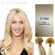 "Pre Bonded Nail/U Tip Indian Remy Human Hair Extensions 18""#613Light Blonde50pcs"