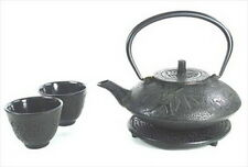 Japanese Cast Iron Teapot Tea Set Bamboo Black TS7-06bk