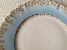 L. Sazerat Limoges France Hand Painted Dinner Plate Blue with Gilt Gold 9.5""