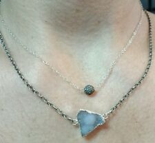 6mm diamond pave round bead and Druzy on 925 silver chain double necklace