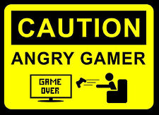 "A4 Poster – ""CAUTION ANGRY GAMER"" (Picture Print Gaming Game Art XBOX ONE PS4)"