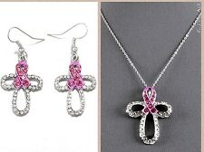 Necklace Earring Set Breast Cancer Pink Ribbon Awareness Cross Chain Pendant
