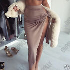 Womens Sexy Thigh High Split Asymmetric Self Tie Bow Maxi Skirt