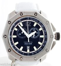 Nautica Men's N24516G NVL100 Blue Dial White Leather Band Watch
