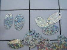 13mm Sew on Sequins Silver Holographic Oval 150 pc Bag