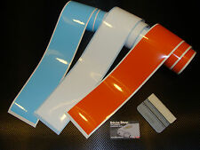 3 bandes / strip decal le mans gulf colors 90mm stickers pegatinas aufkleber
