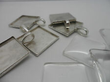 5 Silver Square Pendant Making Set,25mm inner Tray.5 Settings 5 Cabochons.