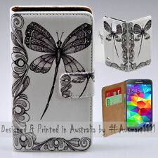 Wallet Phone Case Flip Cover ONLY for Samsung Galaxy S5 - Dragonfly Vector Print