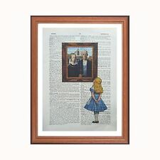 Alice in Wonderland vs Grant Wood - American Gothic  - dictionary art print gift