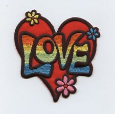 Iron-On Applique Embroidered Patch 60's Love Heart Multi-Color with Flowers