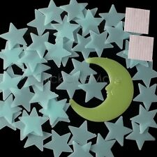 EZI - 50 Glow In The Dark Star and Moon Set Plastic Shape for Ceiling Wall Decor