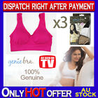 THREE Genuine Genie Bra Comfort Support Seamless S M L XL XXL XXXL Hot Pink