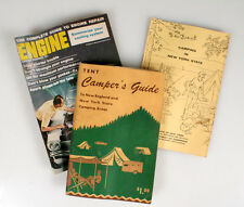 VINTAGE CAMPING GUIDES W/ A MAGAZINE FOR ENGINE REPAIR, SET OF 3