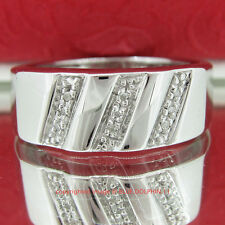 Genuine Diamond Solid Silver Engagement Wedding Mens Ring Band White Gold Finish