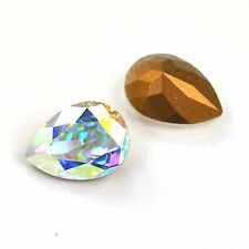 Swarovski 14x10mm 4320 Crystal AB Pear Shape Fancy Stones 2 Pieces