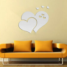 Fashion 3D Mirror Love Hearts Wall Sticker Removable Decal DIY Home Room Decor