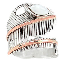 Two Tone - Pearl 925 Silver Ring Jewelry s.7 SR204786