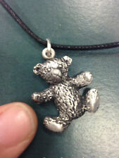 PENDANT TEDDY BEAR SMALL CUDDLY HAPPY PEWTER NECKLACE HAND CRAFTED UK FINISH NEW