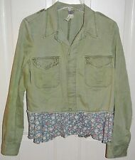 We the Free People Military Army Green Jacket Floral Ruffle Trim Studded Size M