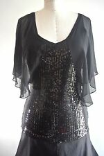 Guess Black sequined silk top Stretch beaded Blouse butterfly S/6 formal fancy
