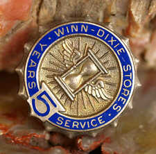 VINTAGE ENAMELED STERLING SILVER WINN DIXIE STORES 5 YEARS SERVICE PIN