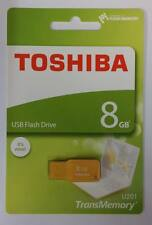 8GB Toshiba USB 2.0 flash drive Memory stick U201 Yellow 8Gig - THN-U201Y0080M4