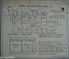 Metz tipo t1 cristal micrófono esquema eléctrico edición 1, stand 03/52