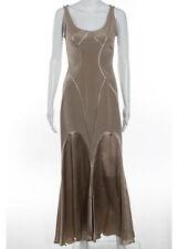 ZAC POSEN Beige Silk Sleeveless Scoop Neck Mermaid Hem Shift Dress Sz 4