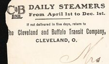 C&B Daily Steamers Cleveland & Buffalo Transit Ships Bluff Point NY 1908 Cover ²