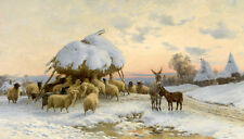 Beautiful Oil painting The sheep eat hay in sunset winter landscape with snow