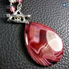 ♥ Strawberry Quartz Silver Plated Necklace & Matching Striated Agate Pendant