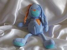 Doudou lapin bleu, broderie coeur, FNAC
