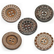 Large Ethnic Pattern Wooden Button BOHO Ethnic Tribal Bohemian 60mm 10pcs DF