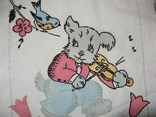 Vintage Unfinished VOGART Stamped Dresser Scarf Runner Puppy Bird Violin Music