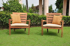 2pc Lounge Kwila Arm Chair Set:Termite Resistant Wood Outdoor Garden Patio Stool
