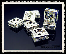 FREE 20PCS TOP AAA++ Rhinestones Design Square Spacer Beads Silver Crystal 8mm