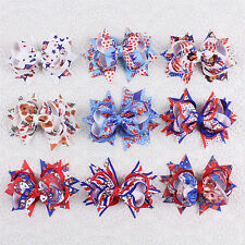 "New high quality 9pc 3"" baby toddler American flag hair bows clips 2086-10-18-S"