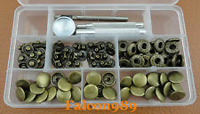 30Set15mm Antique Brass Snap Fasteners Popper Press Stud Button Leather Tool Kit