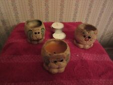 "SET OF THREE ""ANIMAL"" SHAPED POTTERY CANDLE HOLDERS; VOTIVE/TEA CANDLE    USED"
