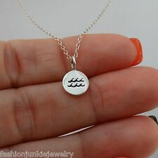 Aquarius Necklace - 925 Sterling Silver - Tiny Horoscope Zodiac Charm Jewelry