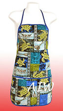 Unisex canvas Hawaiian floral print apron - 701Blue