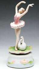 ♫ New MUSIC BOX Porcelain BALLERINA SWAN LAKE Vintage Style MUSICAL FIGURINE