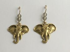 Goldtone Pewter & 14k gf large elephant head dangle earrings-elephants, trunk