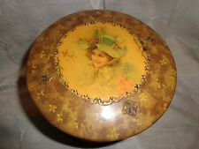 ANTIQUE VICTORIAN LADY HAT PORTRAIT PINK ROSES BUTTERFLY CELLULOID COLLAR BOX